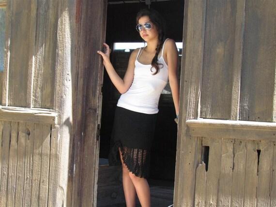 Black lace skirt Black mini skirt Knit skirts Summer skirt Lace skirt Vintage skirt  Boho skirt Sexy Vintage mini skirt Designer skirt Black