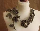 Sprig of Flowers  Pearls- linen  Crochet Necklace