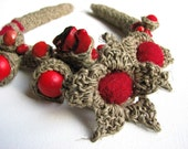 Fine Art  RED - linen  Crochet Necklace OOAK
