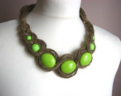 Green Necklace - linen necklace