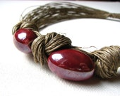 RESERVED Sweet Cherries - linen necklace