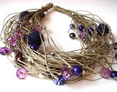 Entangled in the Purple - linen necklace