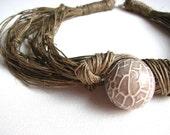 Beige Fractured - linen necklace