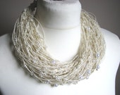 White Pearls - linen  BIG necklace