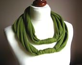 ZAMOTKA cotton scarf necklace ROTTEN GREEN