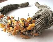 NatuRal AmBer - BIG linen necklace