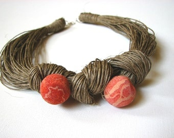 NatuRal Philippine coral - linen necklace