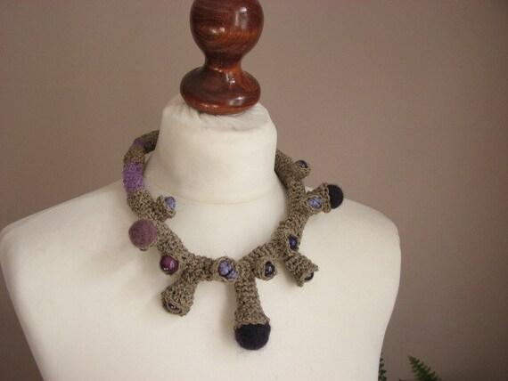 Fine Art  PURPLE - linen  Crochet Necklace OOAK