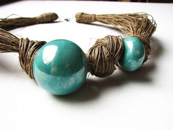 Ceramic Marine - linen necklace