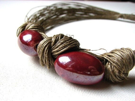 RESERVED Sweet Cherries - linen necklace