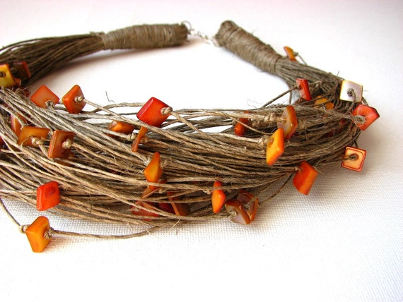 Amber Glamour - linen necklace