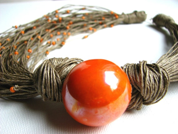 RESERVED Ceramic CleMenTines - BIG linen necklace