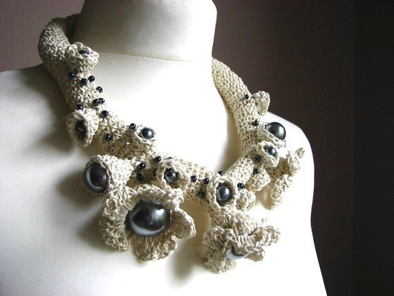 Fine Art  Pearls- linen  Crochet Necklace OOAK