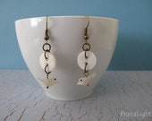 Little Bird Mother of Pearl Button and Charm Earrings--SALE 25% Off
