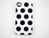 White Polka Dot iPhone 4 Case, iPhone 4s Case, iPhone 4 Cover, Hard iPhone 4 Case