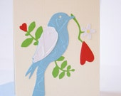 Love Greeting Card - Valentine's Day Gift Card - Blue Bird Card - Heart - Red - Green - Blue - White