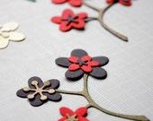 DIY kit to Make Flowers - Die Cut Paper Flowers - Poppy, Daisy, Red, White, Yellow, Black