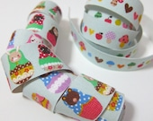 "Set of 2 - 1"" Self adhesive fabric masking tape / fabric sticker  - Animal matryoshka and mushrooms"
