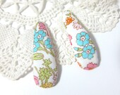 Romantic womens puffy snap clips - turquoise & pink flowers