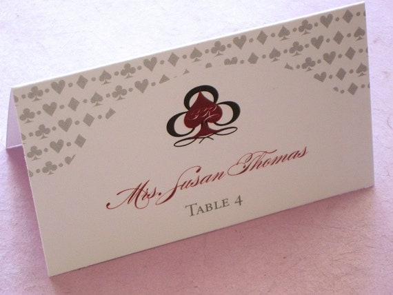 RESERVED for Melissa - Las Vegas Tent Place Card - Monogram Casino Wedding - Escort Card