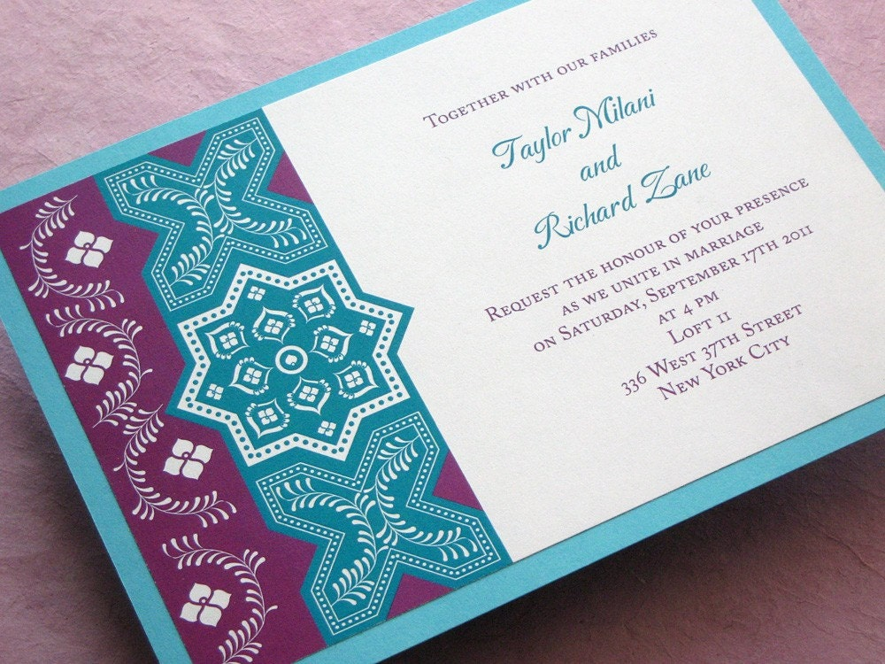 Moroccan Party Invitation Persian Tile Shower Birthday