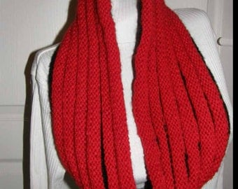 Cowl 2in1 -Red or black knitted neckwarmer  ,unisex