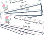 Baby Shower thank you favour tag - Stroller - Pink or Blue - Printable