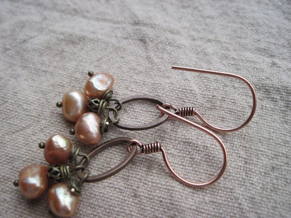 peach and copper pearl earrings