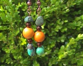 Turquoise and Mountain Jade Earrings