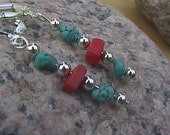 South Western Turquoise and Red Coral Earrings