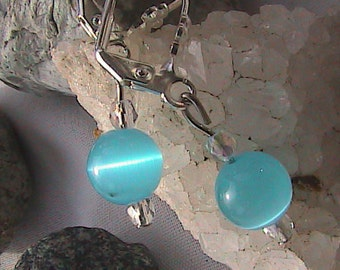 Baby Blue Cat's Eye Earrings