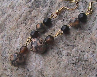 Cheetah Print with Black Agate Earrings