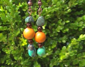Turquoise and Mountain Jade Earrings