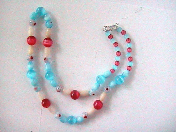 Catseye Pink and Blue Flower Necklace for young Girl