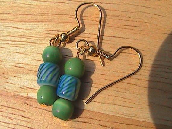 Blue-Green Swirl Cat's Eye Earrings