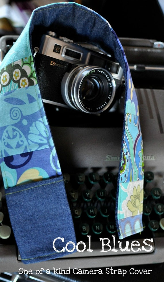 DSLR Padded Camera Strap Cover Made to Order OOAK Calming Blues