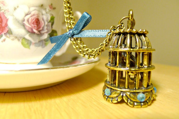 Fly Away - Bird Cage Necklace