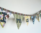 Imagine Fabric Flag Bunting. Nursery or Playroom Decor Cloth Banner.