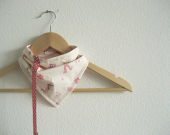 Garden party bandana bib with attached pacifier clip, reversible cotton baby bibdana for girls
