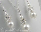 Wedding Jewelry SET, Pearl and crystal Bridal jewelry, sterling silver, Audrey bridal set
