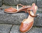 SALE Vintage 60s / Boho / Summer / Woven / Leather / Wedge / Tan Sandal