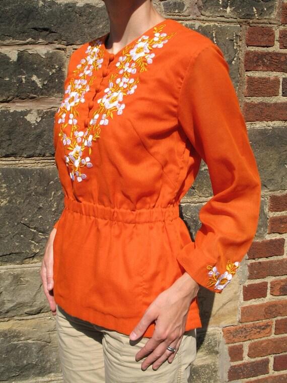 SALE 60's Tangerine Pumpkin Orange Boho Bohemian Folky Vintage Embroidered Tunic Top