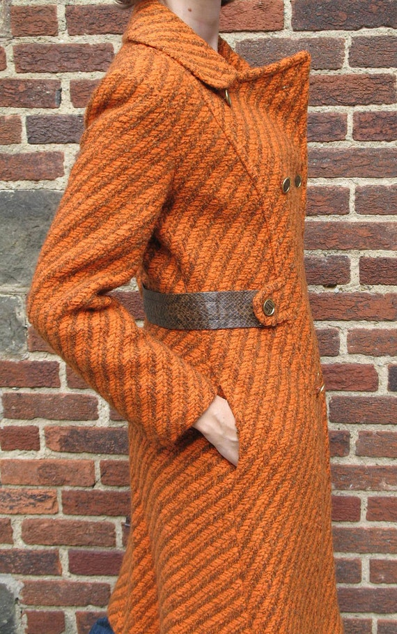 Unique Vintage 60s MOD / Double Breasted Coat / Orange and Brown Boucle Tweed / Faux Snakeskin