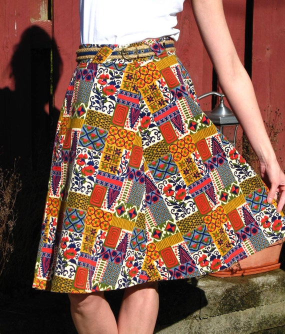 Vintage 60s Mod / Corduroy / Geometric / Retro Pattern / A line Skirt / with matching Cord and Leather Belt