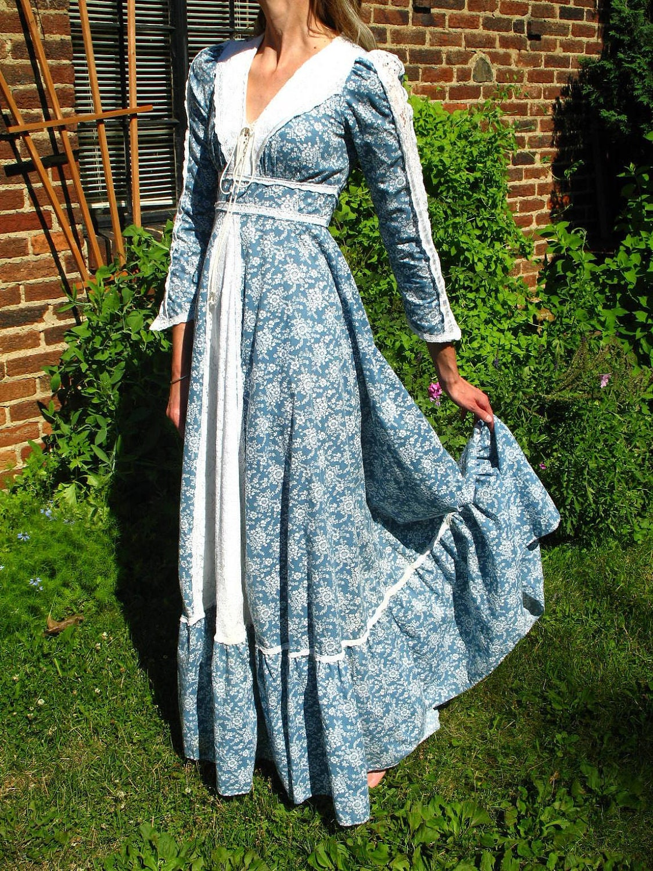 Sale Vintage 70s Gunne Sax Prairie Dress Maxi Dress
