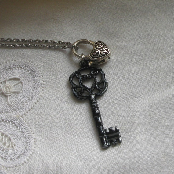 Necklace silvertone heart clasp charm with large black skeleton key necklace perfect for valentine's repurposed