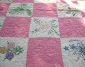 Fall Sale 20% Off /Antique 1930's Flower Garden Vintage Quilt - Beautiful - Superb