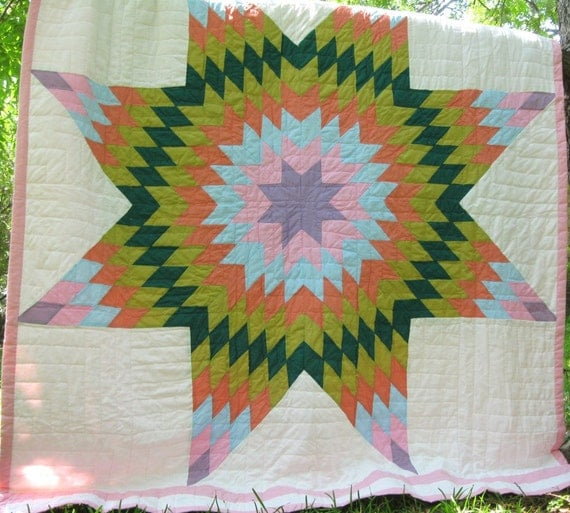FabulousExploding Lone Star Vintage Quilt  Perfect
