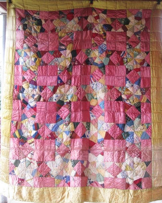 PINK Spiderwebs STARS Vintage Antique Quilt - Silk and Satins