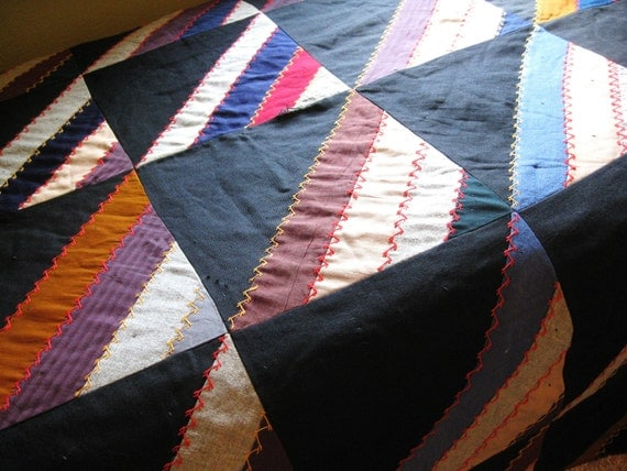 Beautiful Off-Set Strip 2-Sided Antique Vintage Quilt - Simply Divine - Can be Used either Side